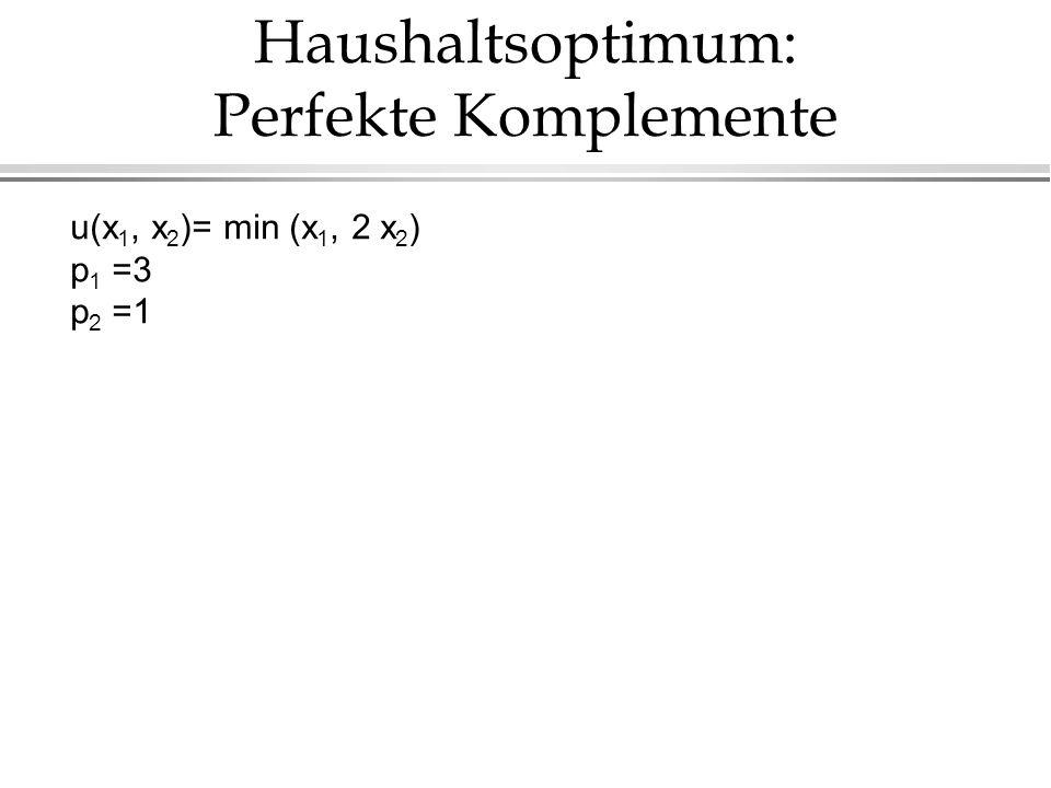 Haushaltsoptimum: Perfekte Komplemente u(x 1, x 2 )= min (x 1, 2 x 2 ) p 1 =3 p 2 =1