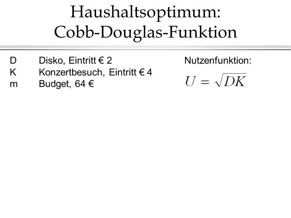 Haushaltsoptimum: Cobb-Douglas-Funktion DDisko, Eintritt € 2 Nutzenfunktion: KKonzertbesuch, Eintritt € 4 mBudget, 64 €