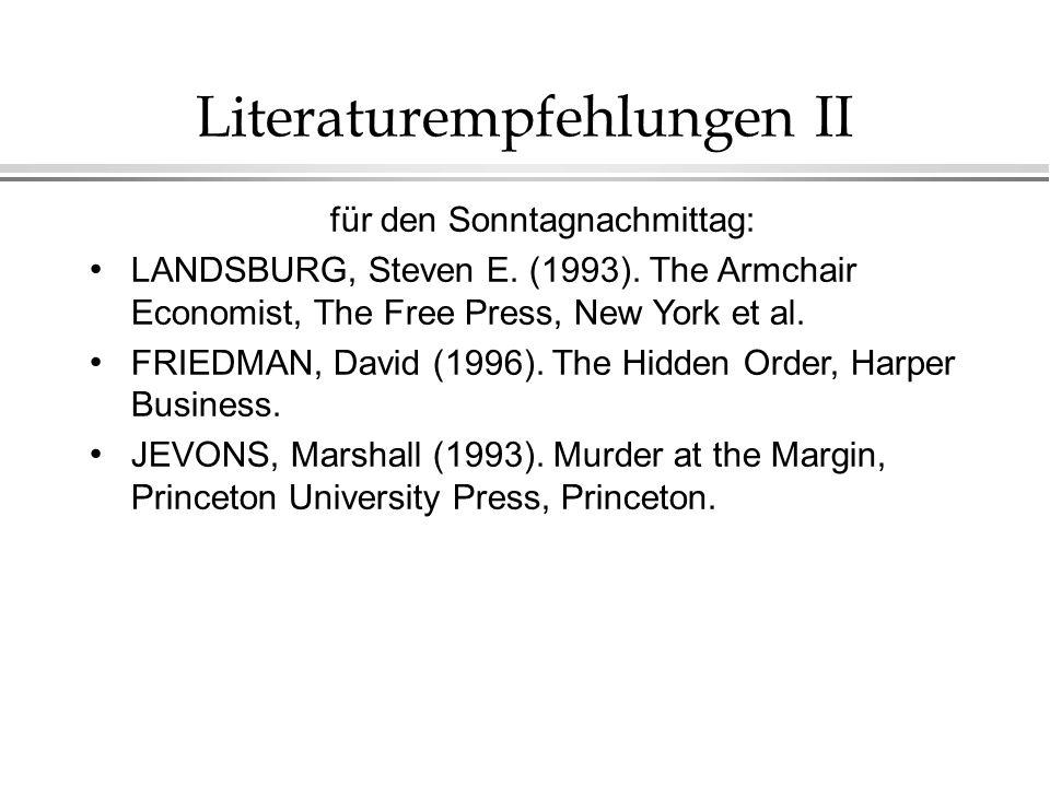 Literaturempfehlungen II für den Sonntagnachmittag: LANDSBURG, Steven E.