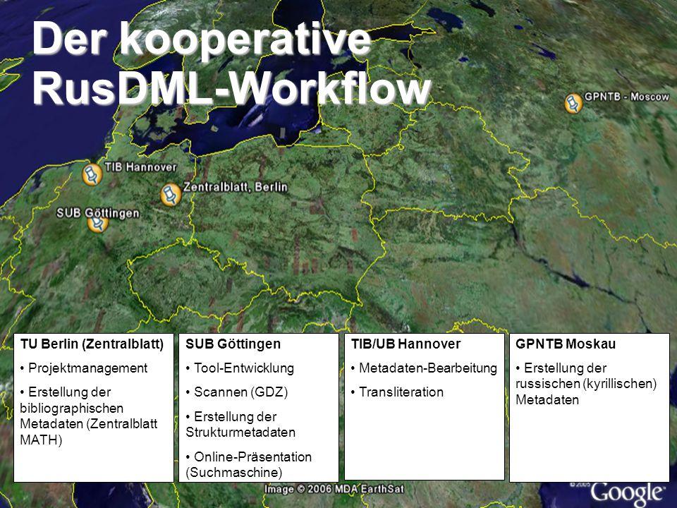 Matthias SchulzeBernhard Tempel Der kooperative RusDML-Workflow SUB Göttingen Tool-Entwicklung Scannen (GDZ) Erstellung der Strukturmetadaten Online-P