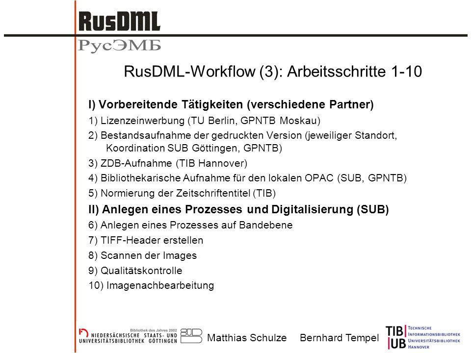 Matthias SchulzeBernhard Tempel RusDML-Workflow (3): Arbeitsschritte 1-10 I) Vorbereitende Tätigkeiten (verschiedene Partner) 1) Lizenzeinwerbung (TU