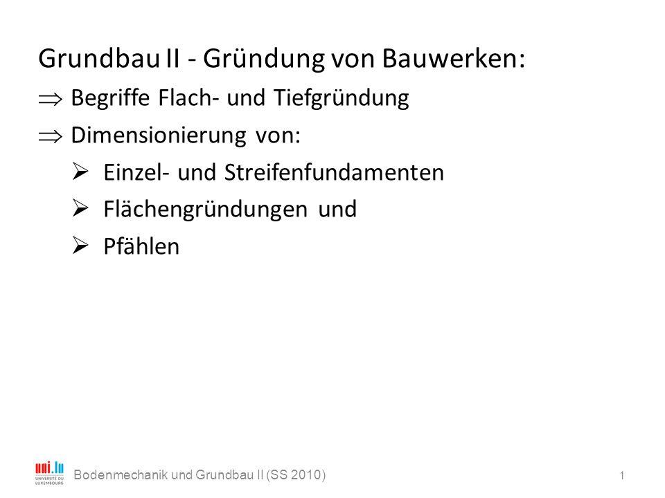 Grundbau II - Gründung von Bauwerken:  Begriffe Flach- und Tiefgründung  Dimensionierung von:  Einzel- und Streifenfundamenten  Flächengründungen