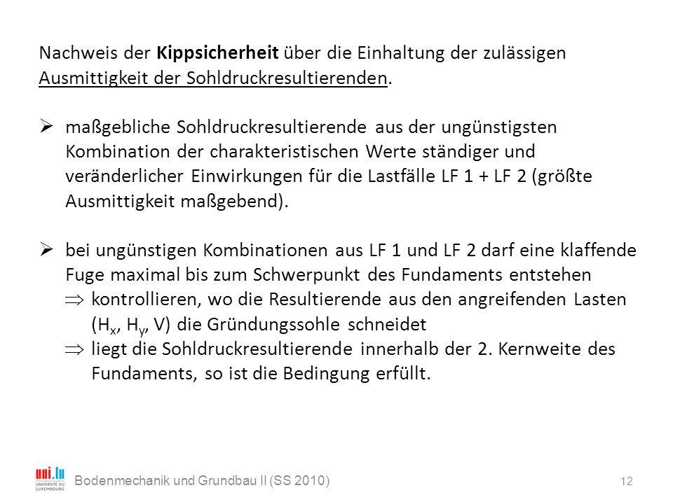 12 Bodenmechanik und Grundbau II (SS 2010) Nachweis der Kippsicherheit über die Einhaltung der zulässigen Ausmittigkeit der Sohldruckresultierenden. 