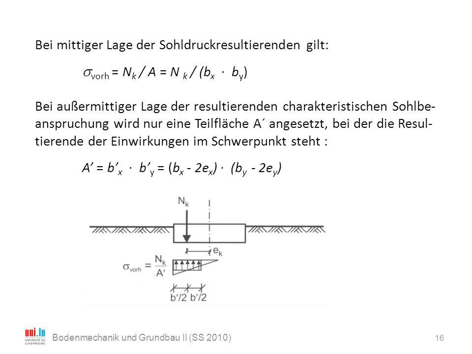 Bei mittiger Lage der Sohldruckresultierenden gilt:  vorh = N k / A = N k / (b x · b y ) Bei außermittiger Lage der resultierenden charakteristischen