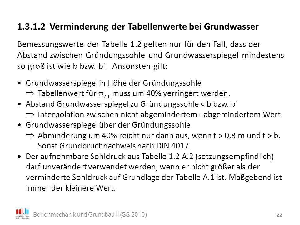 22 Bodenmechanik und Grundbau II (SS 2010) 1.3.1.2 Verminderung der Tabellenwerte bei Grundwasser Bemessungswerte der Tabelle 1.2 gelten nur für den F
