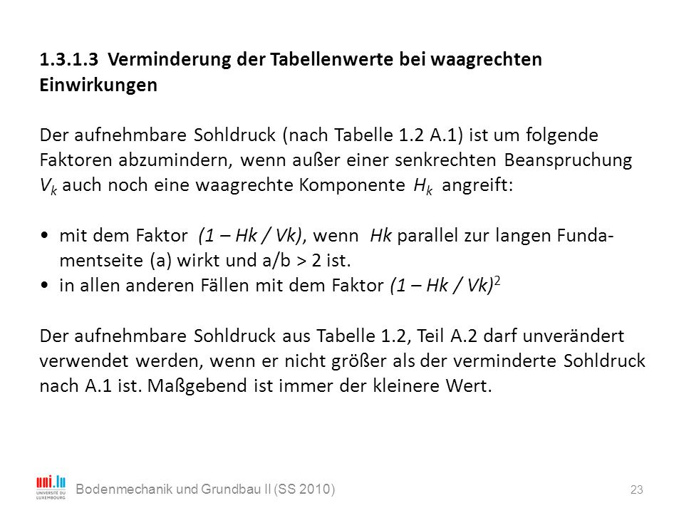 23 Bodenmechanik und Grundbau II (SS 2010) 1.3.1.3 Verminderung der Tabellenwerte bei waagrechten Einwirkungen Der aufnehmbare Sohldruck (nach Tabelle