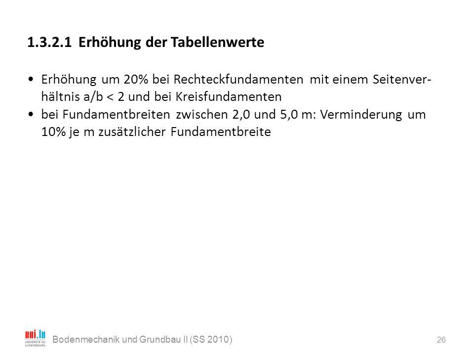 26 Bodenmechanik und Grundbau II (SS 2010) 1.3.2.1 Erhöhung der Tabellenwerte Erhöhung um 20% bei Rechteckfundamenten mit einem Seitenver- hältnis a/b