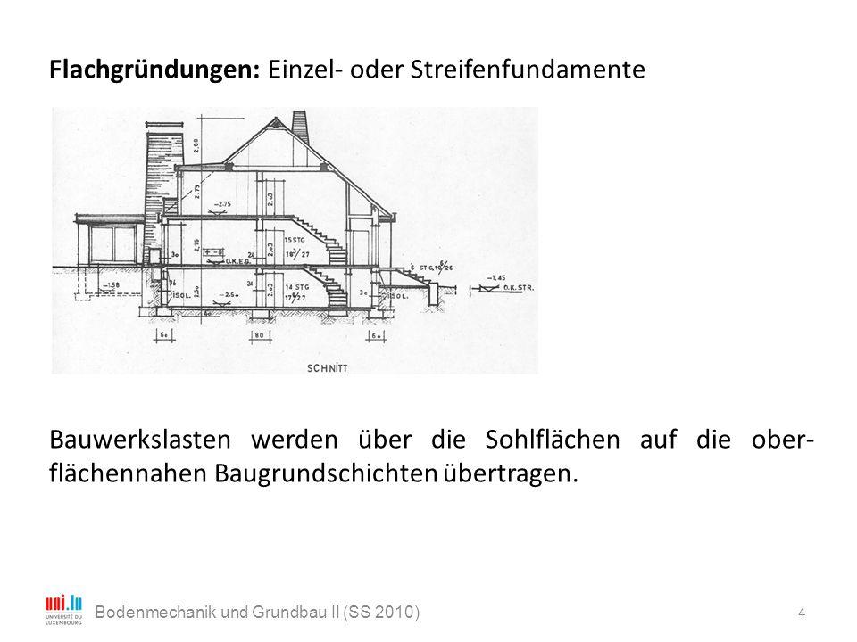 Flachgründungen: Einzel- oder Streifenfundamente Bauwerkslasten werden über die Sohlflächen auf die ober- flächennahen Baugrundschichten übertragen. 4