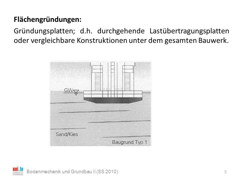 Flächengründungen: Gründungsplatten; d.h. durchgehende Lastübertragungsplatten oder vergleichbare Konstruktionen unter dem gesamten Bauwerk. 5 Bodenme