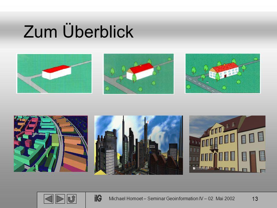 Michael Homoet – Seminar Geoinformation IV – 02. Mai 2002 13 Zum Überblick