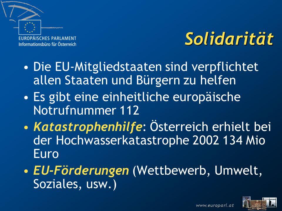 www.europarl.at Solidarität Die EU-Mitgliedstaaten sind verpflichtet allen Staaten und Bürgern zu helfen Es gibt eine einheitliche europäische Notrufnummer 112 Katastrophenhilfe: Österreich erhielt bei der Hochwasserkatastrophe 2002 134 Mio Euro EU-Förderungen (Wettbewerb, Umwelt, Soziales, usw.)