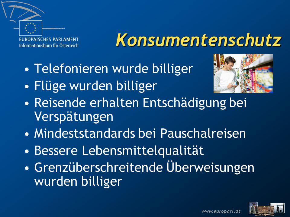 www.europarl.at Konsumentenschutz Telefonieren wurde billiger Flüge wurden billiger Reisende erhalten Entschädigung bei Verspätungen Mindeststandards