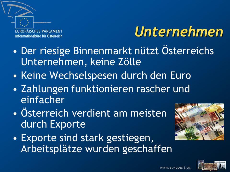 www.europarl.at Unternehmen Der riesige Binnenmarkt nützt Österreichs Unternehmen, keine Zölle Keine Wechselspesen durch den Euro Zahlungen funktionie