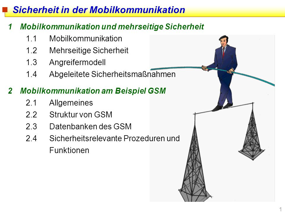 2 3Mobilitäts- und Verbindungsmanagement am Beispiel GSM 3.1Location Management allgemein 3.2Erstellbarkeit von Bewegungsprofilen allgemein 3.3Location Update Prozeduren 3.4Rufaufbau (Call Setup) im GSM 3.5Erstellbarkeit von Bewegungsprofilen im GSM 3.6Bekannte Angriffe auf GSM-Sicherheitsfunktionen 3.7Zusammenfassung der Sicherheitsprobleme 4Verfahren zum Schutz von Aufenthaltsinformation 4.1Allgemeines 4.1Systematik Sicherheit in der Mobilkommunikation