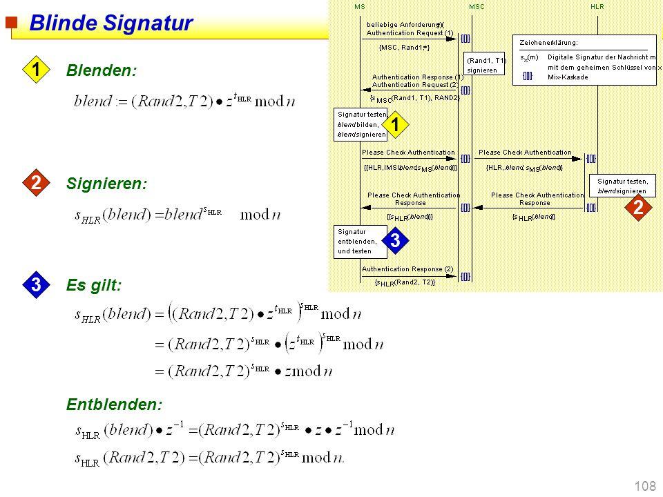 108 Blinde Signatur 1 2 3 1 2 3 Es gilt: Entblenden: Signieren: Blenden: