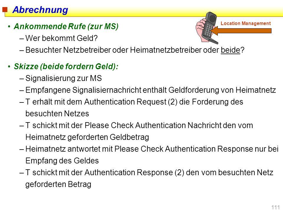 111 Abrechnung Ankommende Rufe (zur MS) –Wer bekommt Geld? –Besuchter Netzbetreiber oder Heimatnetzbetreiber oder beide? Skizze (beide fordern Geld):