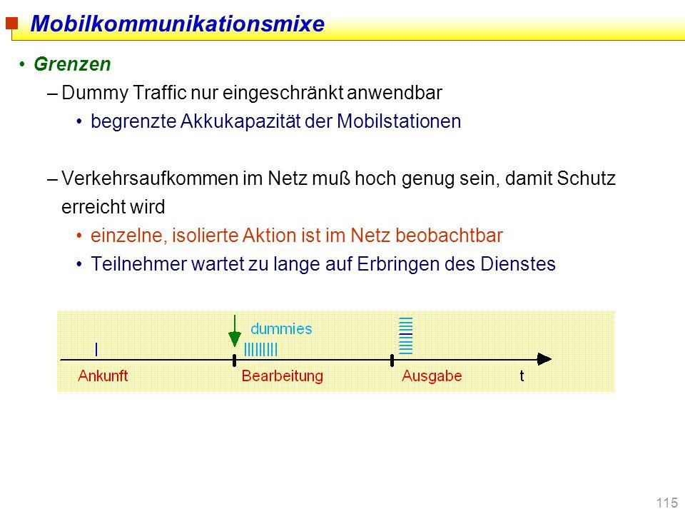 115 Mobilkommunikationsmixe Grenzen –Dummy Traffic nur eingeschränkt anwendbar begrenzte Akkukapazität der Mobilstationen –Verkehrsaufkommen im Netz m