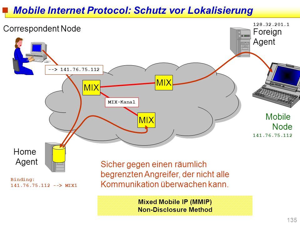 135 Mobile Internet Protocol: Schutz vor Lokalisierung Correspondent Node Home Agent Foreign Agent Mobile Node 141.76.75.112 128.32.201.1 MIX --> 141.