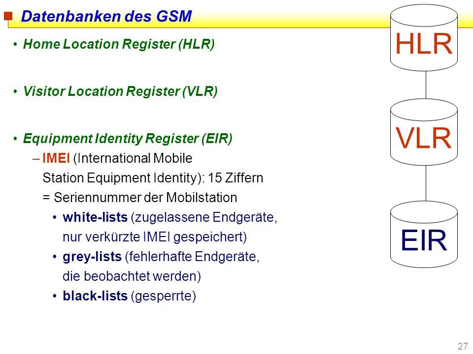 27 Datenbanken des GSM Home Location Register (HLR) Visitor Location Register (VLR) Equipment Identity Register (EIR) –IMEI (International Mobile Stat