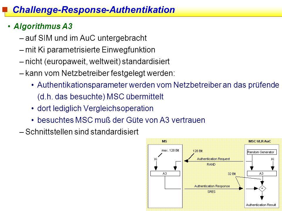 31 Challenge-Response-Authentikation Algorithmus A3 –auf SIM und im AuC untergebracht –mit Ki parametrisierte Einwegfunktion –nicht (europaweit, weltw