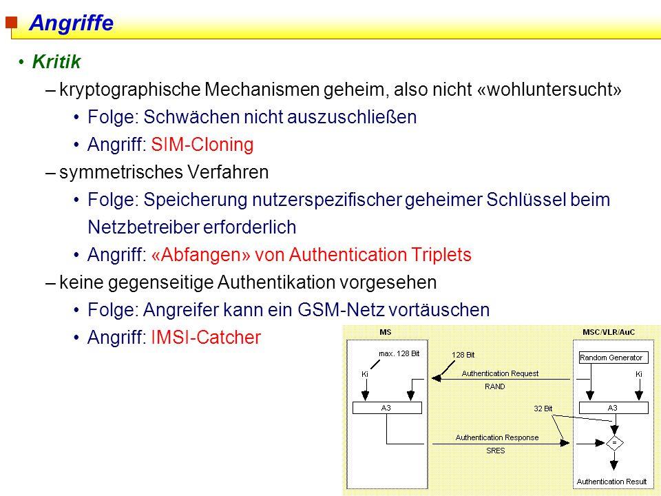 32 Angriffe Kritik –kryptographische Mechanismen geheim, also nicht «wohluntersucht» Folge: Schwächen nicht auszuschließen Angriff: SIM-Cloning –symme