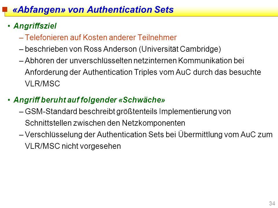 34 «Abfangen» von Authentication Sets Angriffsziel –Telefonieren auf Kosten anderer Teilnehmer –beschrieben von Ross Anderson (Universität Cambridge)