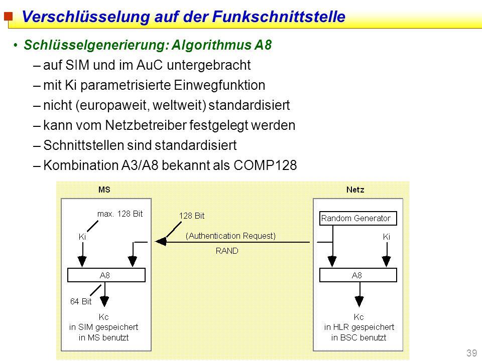 39 Verschlüsselung auf der Funkschnittstelle Schlüsselgenerierung: Algorithmus A8 –auf SIM und im AuC untergebracht –mit Ki parametrisierte Einwegfunk
