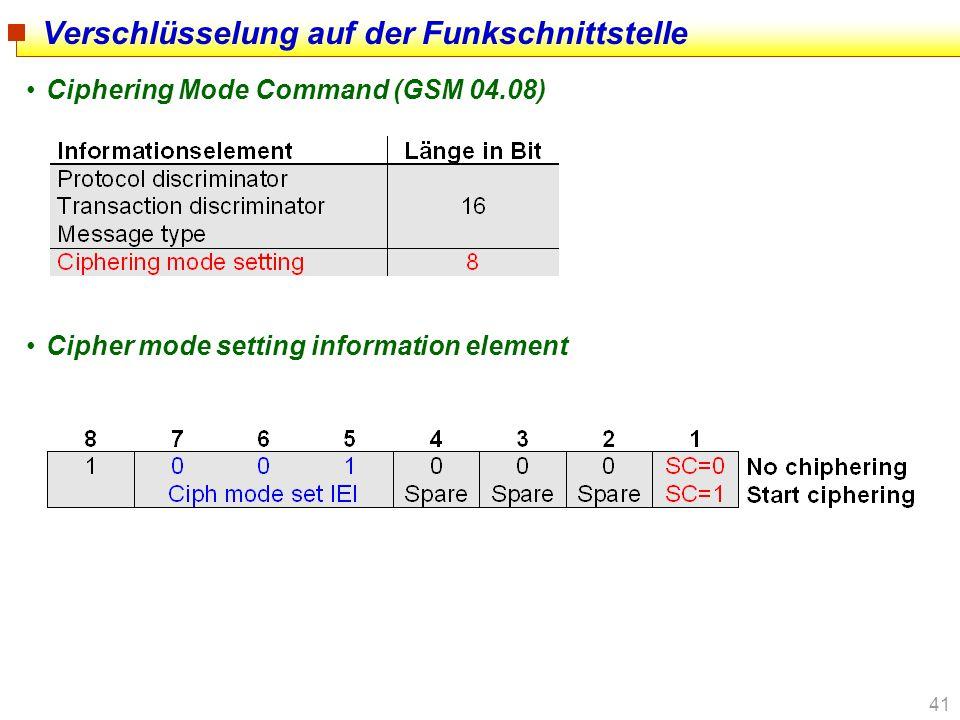 41 Verschlüsselung auf der Funkschnittstelle Ciphering Mode Command (GSM 04.08) Cipher mode setting information element