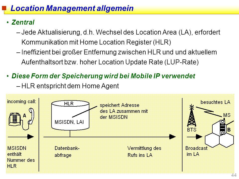 44 Location Management allgemein Zentral –Jede Aktualisierung, d.h. Wechsel des Location Area (LA), erfordert Kommunikation mit Home Location Register