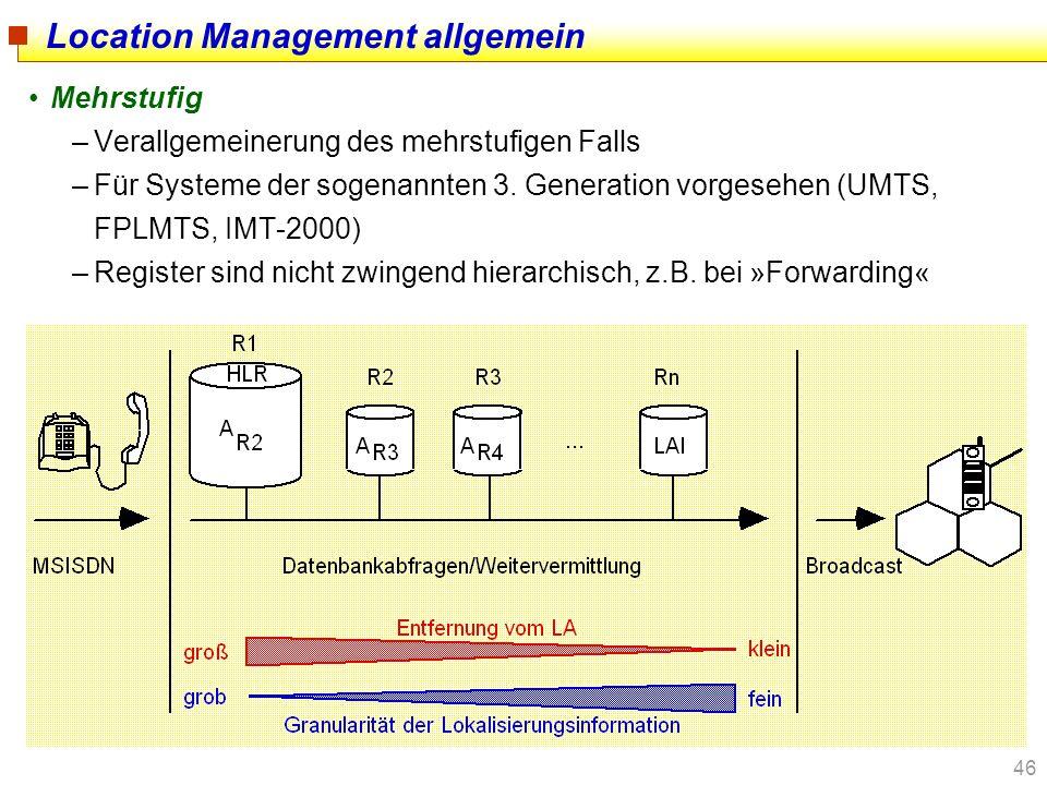 46 Location Management allgemein Mehrstufig –Verallgemeinerung des mehrstufigen Falls –Für Systeme der sogenannten 3. Generation vorgesehen (UMTS, FPL