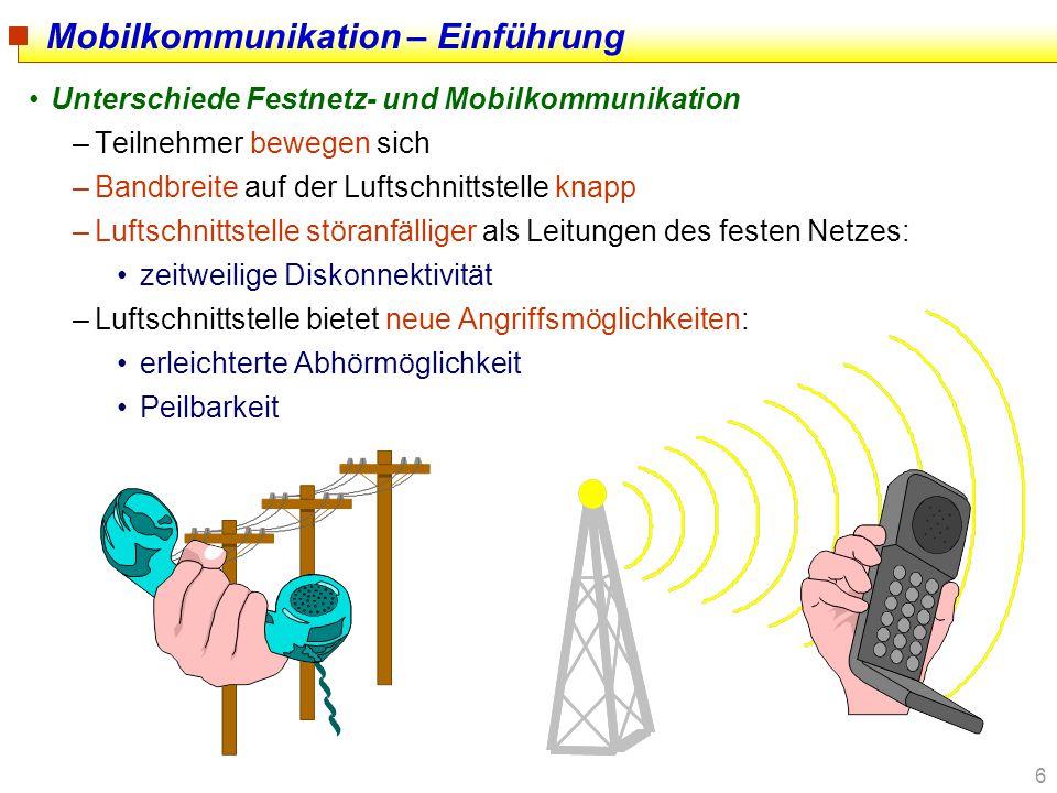 17 Mobilkommunikation am Beispiel GSM –Ursprünglich: Groupe Spéciale Mobilé der ETSI Leistungsmerkmale des Global System for Mobile Communication –hohe, auch internationale Mobilität –hohe Erreichbarkeit unter einer (international) einheitlichen Rufnummer –hohe Teilnehmerkapazität –recht hohe Übertragungsqualität und -zuverlässigkeit durch effektive Fehlererkennungs- und -korrekturverfahren –hoher Verfügbarkeitsgrad (Flächendeckung zwischen 60 und 90%) –als Massendienst geeignetes Kommunikationsmedium –flexible Dienstgestaltung Dienstevielfalt Entwicklungsfähigkeit