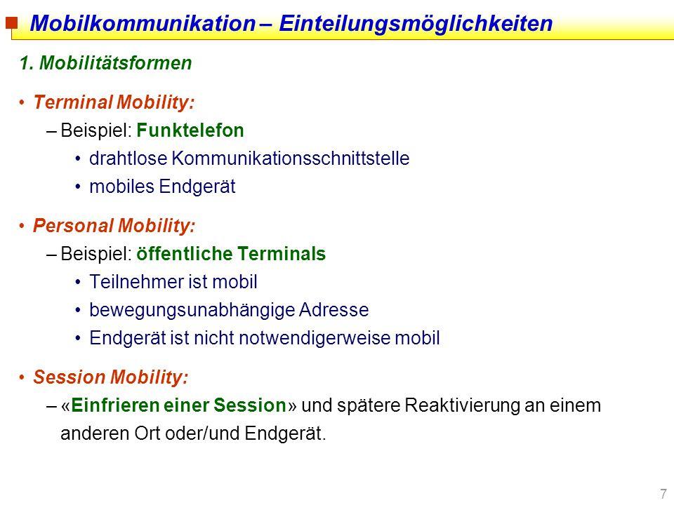7 1. Mobilitätsformen Terminal Mobility: –Beispiel: Funktelefon drahtlose Kommunikationsschnittstelle mobiles Endgerät Personal Mobility: –Beispiel: ö