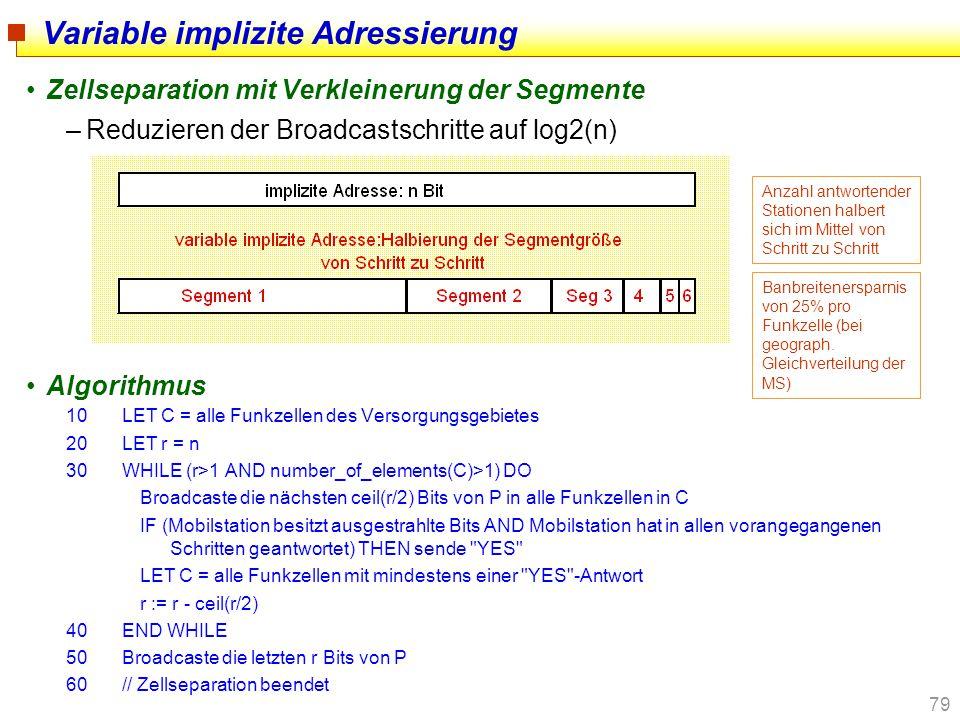 79 Variable implizite Adressierung Zellseparation mit Verkleinerung der Segmente –Reduzieren der Broadcastschritte auf log2(n) Algorithmus 10LET C = a