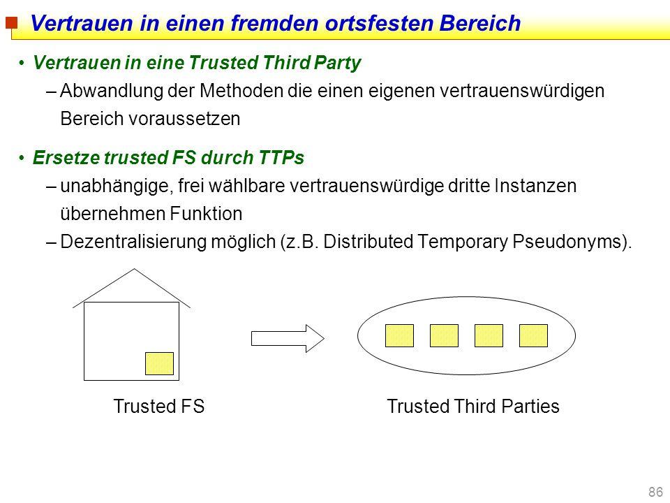 86 Vertrauen in einen fremden ortsfesten Bereich Vertrauen in eine Trusted Third Party –Abwandlung der Methoden die einen eigenen vertrauenswürdigen B