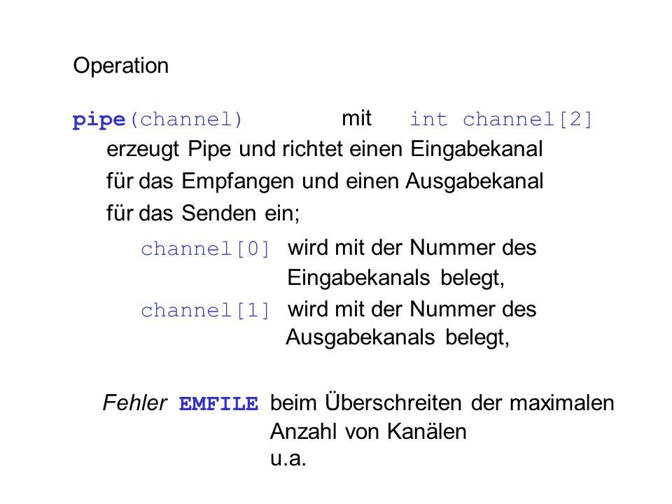 Operation pipe(channel) mit int channel[2] erzeugt Pipe und richtet einen Eingabekanal für das Empfangen und einen Ausgabekanal für das Senden ein; ch
