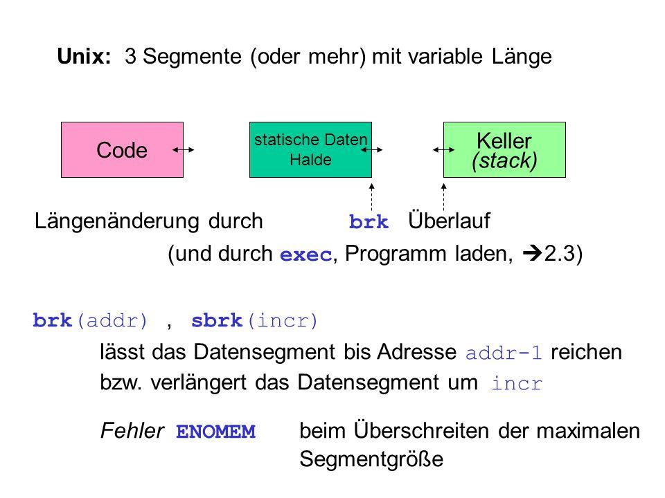 Unix: 3 Segmente (oder mehr) mit variable Länge Code Keller (stack) statische Daten Halde Längenänderung durch brk Überlauf (und durch exec, Programm