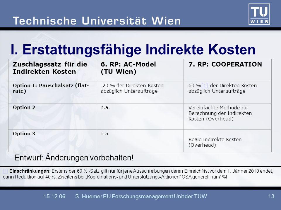 15.12.06S. Huemer EU Forschungsmanagement Unit der TUW13 I. Erstattungsfähige Indirekte Kosten Zuschlagssatz für die Indirekten Kosten 6. RP: AC-Model