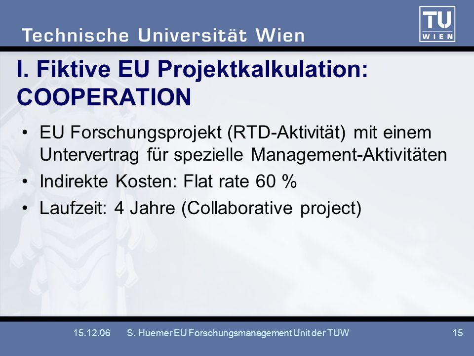 15.12.06S. Huemer EU Forschungsmanagement Unit der TUW15 I. Fiktive EU Projektkalkulation: COOPERATION EU Forschungsprojekt (RTD-Aktivität) mit einem