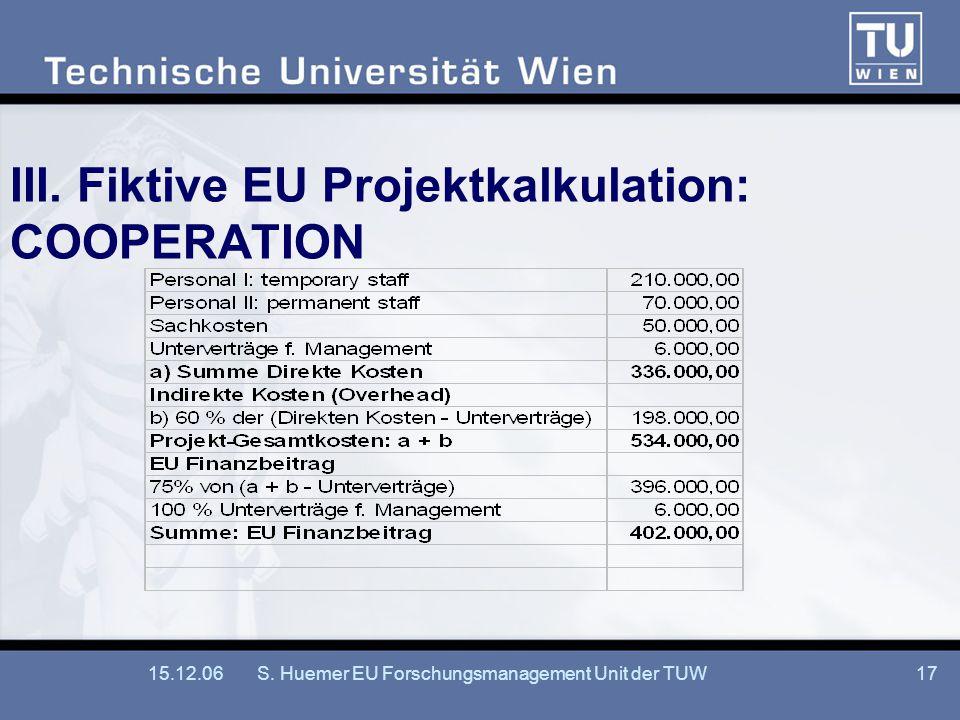 15.12.06S.Huemer EU Forschungsmanagement Unit der TUW17 III.