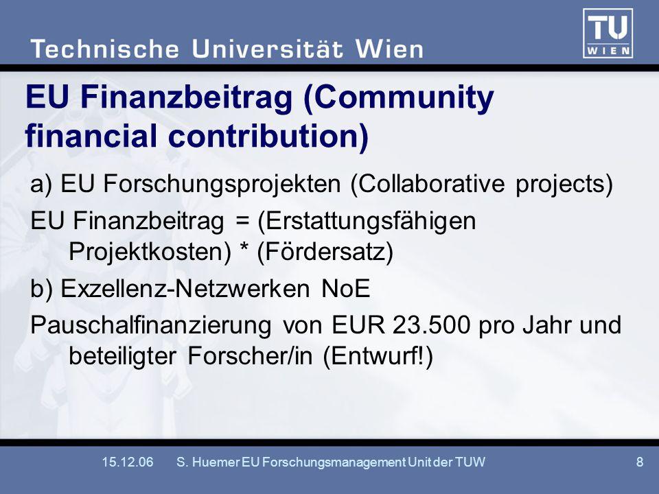 15.12.06S. Huemer EU Forschungsmanagement Unit der TUW8 EU Finanzbeitrag (Community financial contribution) a) EU Forschungsprojekten (Collaborative p