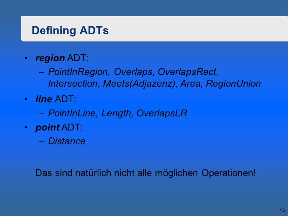 13 Defining ADTs region ADT: –PointInRegion, Overlaps, OverlapsRect, Intersection, Meets(Adjazenz), Area, RegionUnion line ADT: –PointInLine, Length, OverlapsLR point ADT: –Distance Das sind natürlich nicht alle möglichen Operationen!