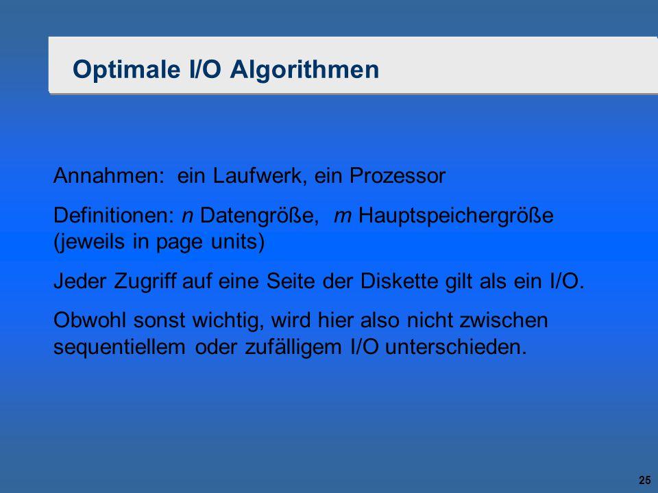 25 Optimale I/O Algorithmen Annahmen: ein Laufwerk, ein Prozessor Definitionen: n Datengröße, m Hauptspeichergröße (jeweils in page units) Jeder Zugri