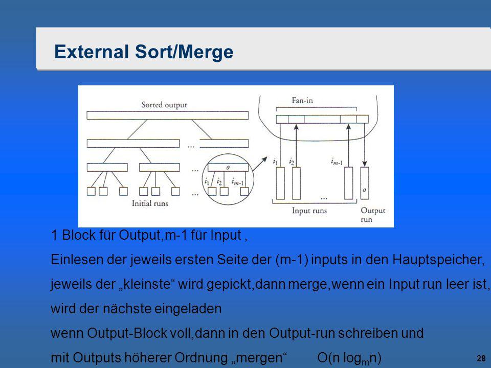 """28 External Sort/Merge 1 Block für Output,m-1 für Input, Einlesen der jeweils ersten Seite der (m-1) inputs in den Hauptspeicher, jeweils der """"kleinst"""