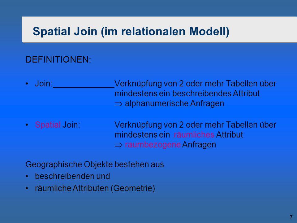 7 Spatial Join (im relationalen Modell) DEFINITIONEN: Join:Verknüpfung von 2 oder mehr Tabellen über mindestens ein beschreibendes Attribut  alphanum
