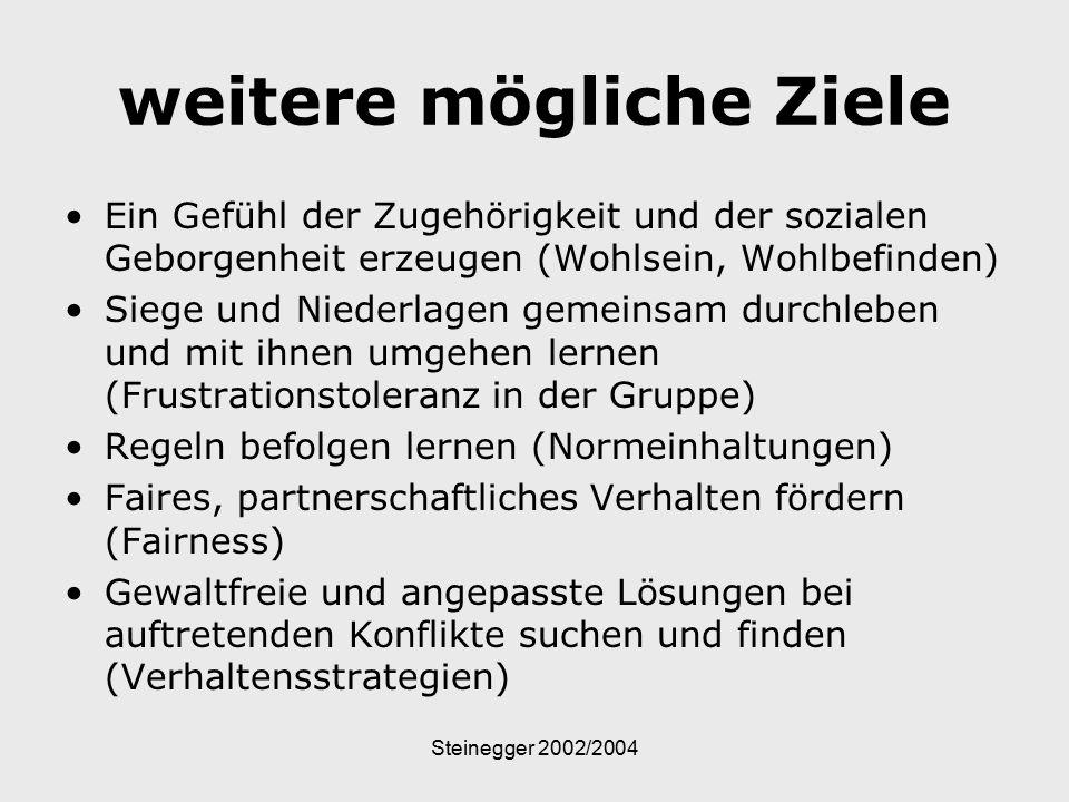 Steinegger 2002/2004 weitere mögliche Ziele Ein Gefühl der Zugehörigkeit und der sozialen Geborgenheit erzeugen (Wohlsein, Wohlbefinden) Siege und Nie
