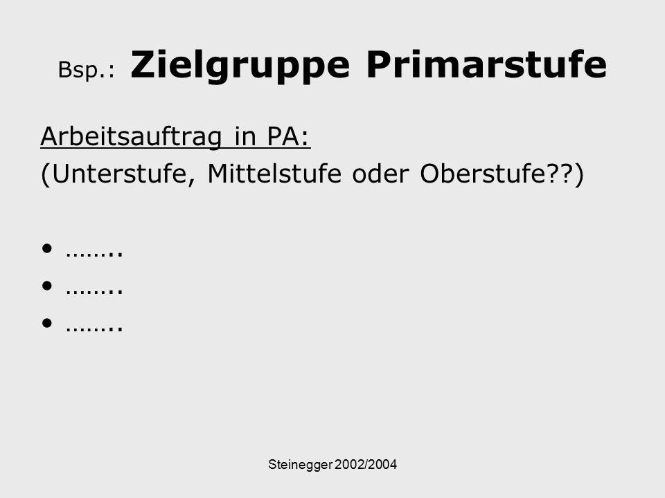 Steinegger 2002/2004 Bsp.: Zielgruppe Primarstufe Arbeitsauftrag in PA: (Unterstufe, Mittelstufe oder Oberstufe??) ……..