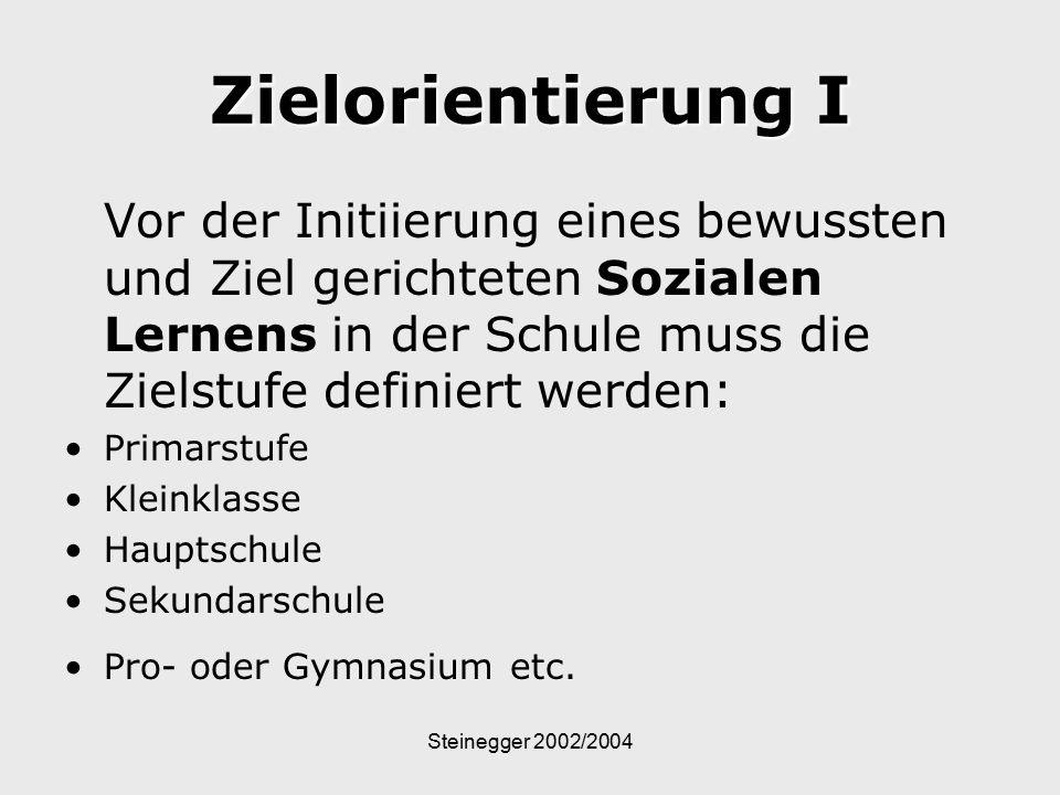 Steinegger 2002/2004 Zielorientierung I Vor der Initiierung eines bewussten und Ziel gerichteten Sozialen Lernens in der Schule muss die Zielstufe def