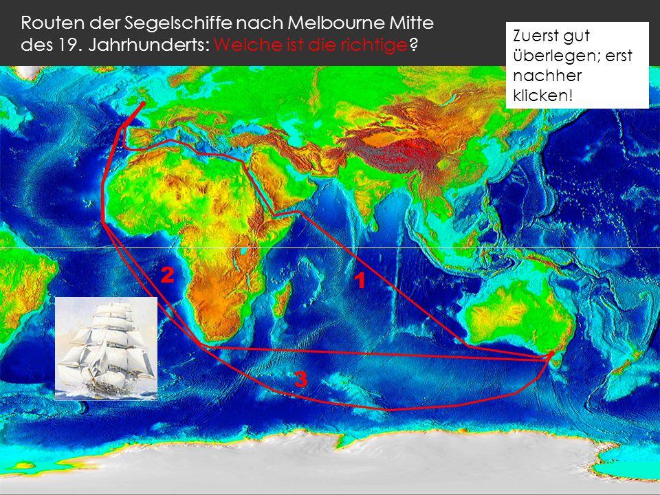 Routen der Segelschiffe nach Melbourne Mitte des 19.