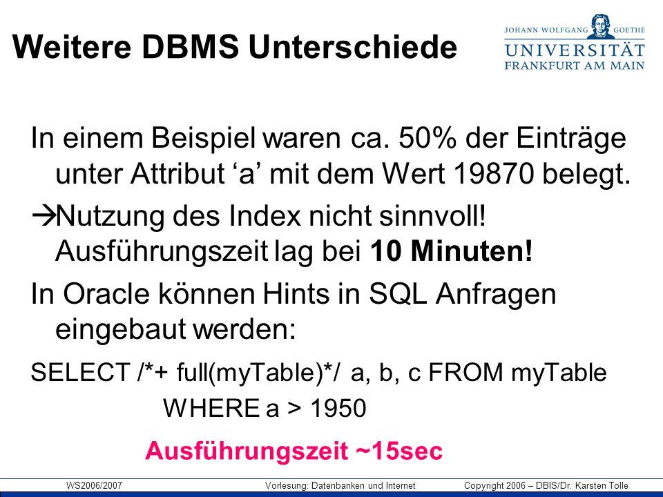 WS2006/2007 Vorlesung: Datenbanken und Internet Copyright 2006 – DBIS/Dr. Karsten Tolle Weitere DBMS Unterschiede In einem Beispiel waren ca. 50% der