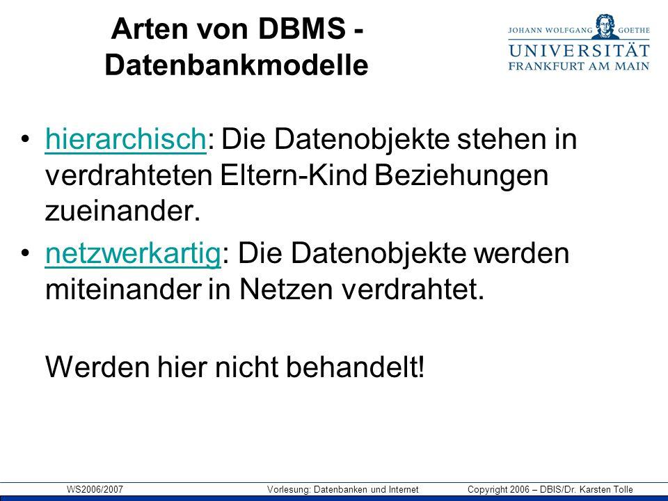 WS2006/2007 Vorlesung: Datenbanken und Internet Copyright 2006 – DBIS/Dr. Karsten Tolle Arten von DBMS - Datenbankmodelle hierarchisch: Die Datenobjek